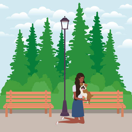 young afro woman lifting cute dog in the park vector illustration design Vektorové ilustrace