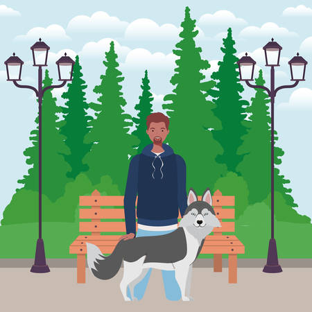 young afro man with cute dog mascot in the park vector illustration design