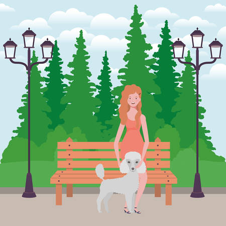 young woman with cute dog mascot in the park vector illustration design Vektorové ilustrace