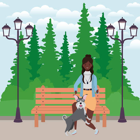 young afro woman with cute dog in the field vector illustration design
