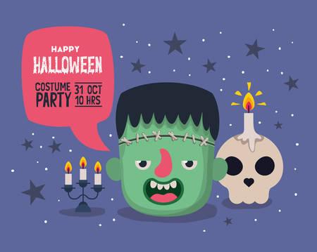 Tarjeta de invitación de Halloween con cabeza de frankestein de dibujos animados y vela de calavera sobre fondo púrpura, diseño colorido, ilustración vectorial Ilustración de vector
