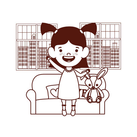 cute little girl baby in living room with rabbit toy character vector illustration design