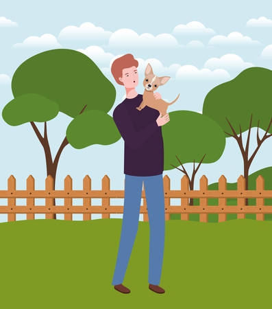 young man lifting cute dog mascot in the camp vector illustration design