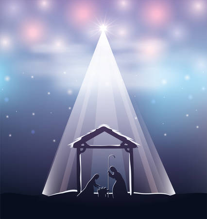 cute holy family in stable manger characters vector illustration design Vectores