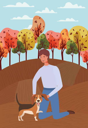 young man with cute dog mascot in the autumn camp vector illustration design