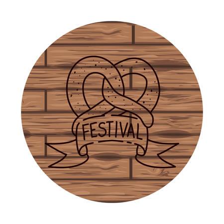 delicious pretzel with wooden background vector illustration design
