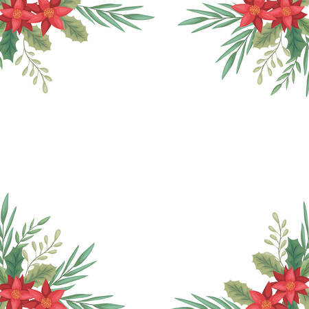 beauty christmas flowers and branch decorative frame vector illustration design  イラスト・ベクター素材