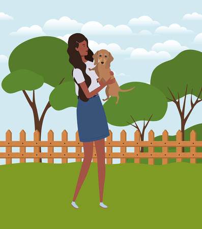young afro woman lifting cute dog in the field characters vector illustration design