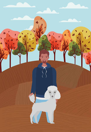 young man with cute dog mascot in the autumn camp vector illustration design Vektorové ilustrace