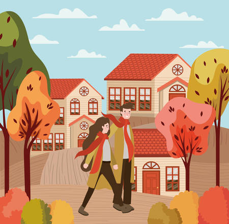 couple walking with autumn suits in the city vector illustration design
