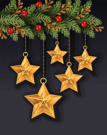 merry christmas leafs and stars hanging decoration vector illustration design