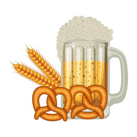 beer jar with pretzel oktoberfest celebration icon vector illustration design