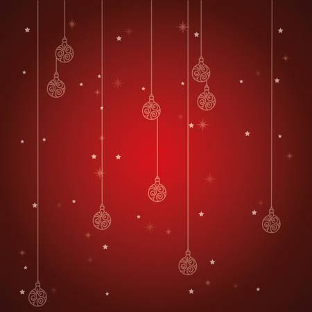 christmas balls hanging pattern background vector illustration design  イラスト・ベクター素材