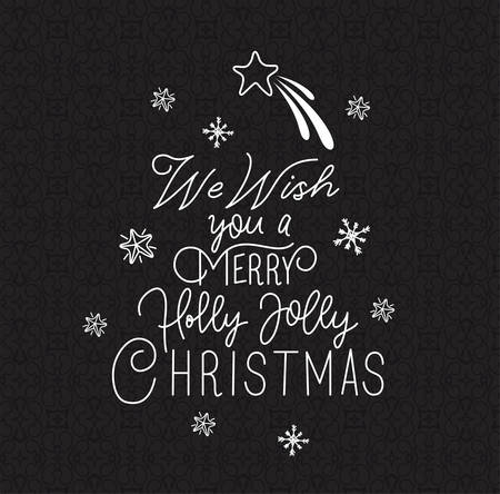 happy merry christmas calligraphy font with star vector illustration design