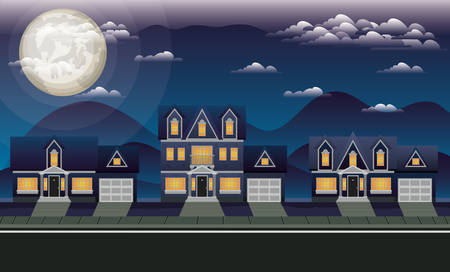 neighborhood street with houses at night scene vector illustration design