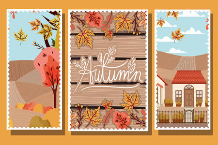 Autumn season cards design with house and leaves of the season, colorful design. vector illustration