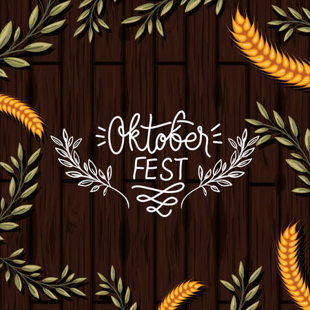 oktoberfest leafs and wheat spikes in wooden background vector illustration design 矢量图像
