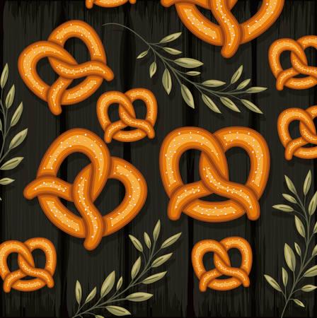 pretzel and decorative leaves colorful design over dark wooden background, vector illustration Illusztráció