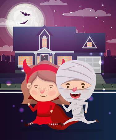 halloween scene with kids costumed in the neighborhood vector illustration Vectores