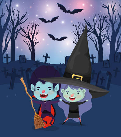 halloween scene with kids costumed in the cemetery vector illustration