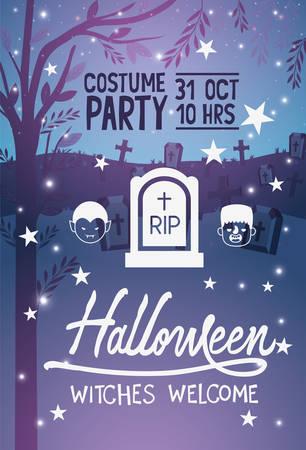 Happy halloween card with gravestone and cartoon scary heads icon over graveyard glowing background, vector illustration Ilustración de vector