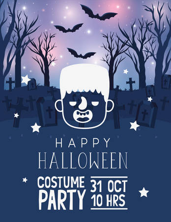 Happy halloween card with cartoon frankenstein head over graveyard glowing background with bats, vector illustration