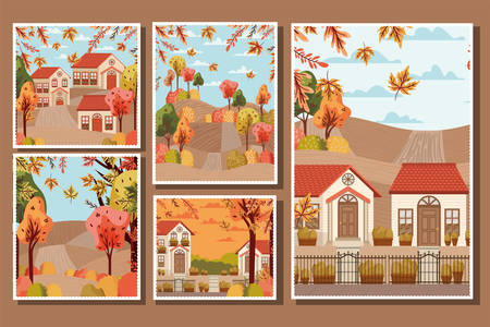 autumn season design with houses and trees with leaves falling, colorful design. vector illustration