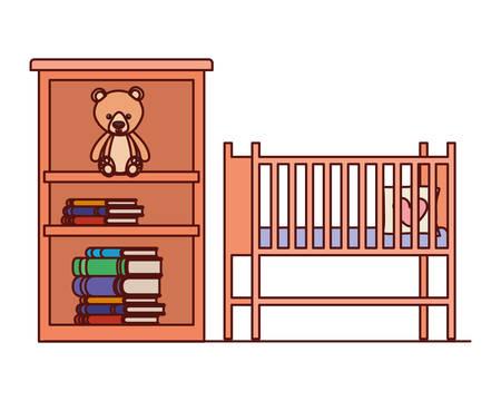 Berceau et étagères avec des livres vector illustration design Vecteurs