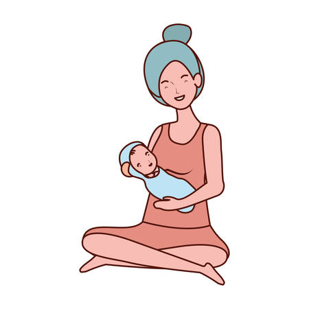 cute pregnancy mother seated lifting little baby characters vector illustration design Archivio Fotografico - 132761565