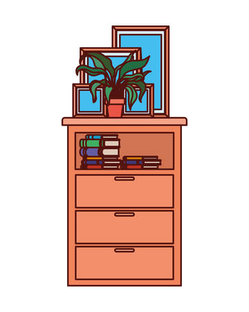 portrait and houseplants in shelving vector illustration design