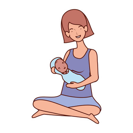 cute pregnancy mother seated lifting little baby characters vector illustration design