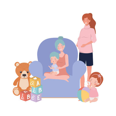 cute pregnancy mothers with little babies in livingroom vector illustration design