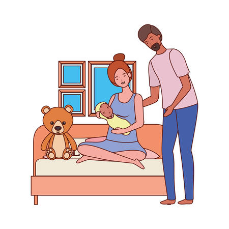 parents couple with little baby in the bedroom vector illustration design Иллюстрация