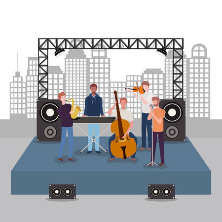 group of men music band playing instruments vector illustration design