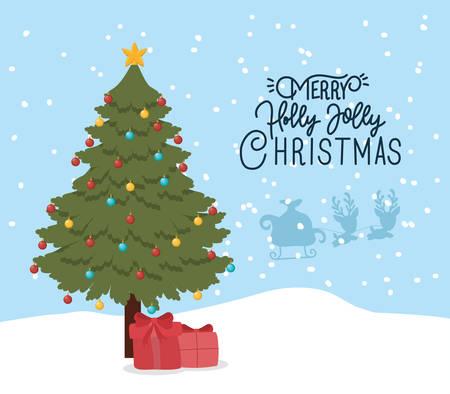 happy merry christmas card with pine tree vector illustration design Vektorgrafik
