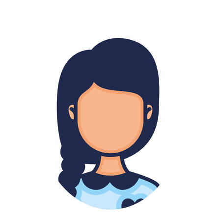 head woman face with horsetail style character illustration design