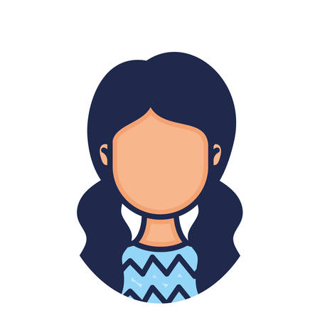 head woman face with two hair tails character illustration design