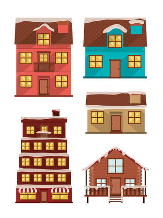 bundle of houses facades with snow vector illustration design