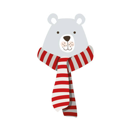 merry christmas polar bear with scarf vector illustration design Фото со стока - 132994678