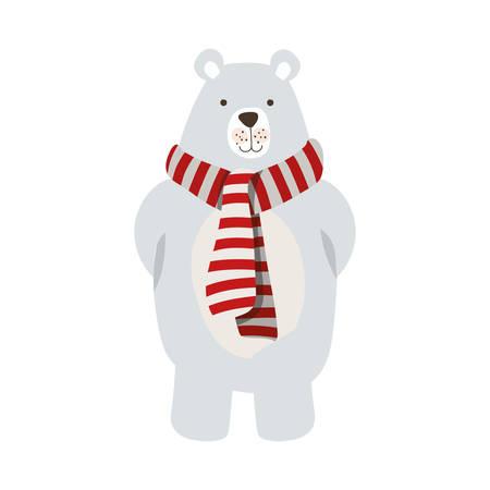merry christmas polar bear with scarf vector illustration design Иллюстрация
