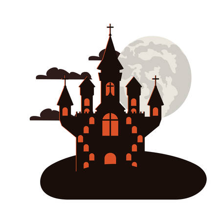 halloween dark castle with moon night scene icon vector illustration design