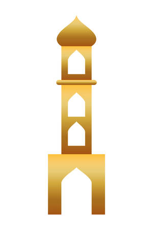 golden manger tower building isolated icon vector illustration design