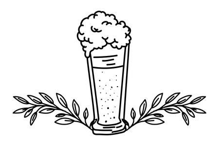 beer glass with wreath crown oktoberfest celebration vector illustration design Stock Illustratie