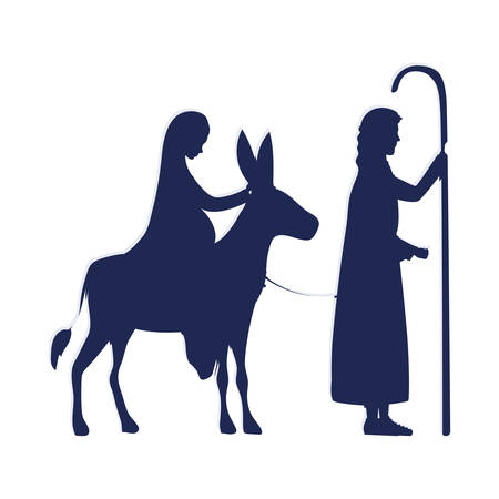 saint joseph and mary virgin in mule manger characters vector illustration