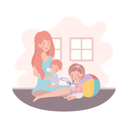 cute pregnancy mother with little kids in the room vector illustration design