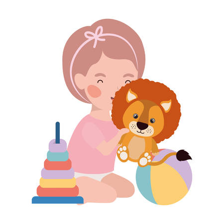 cute little girl baby with lion and toys character vector illustration design Çizim