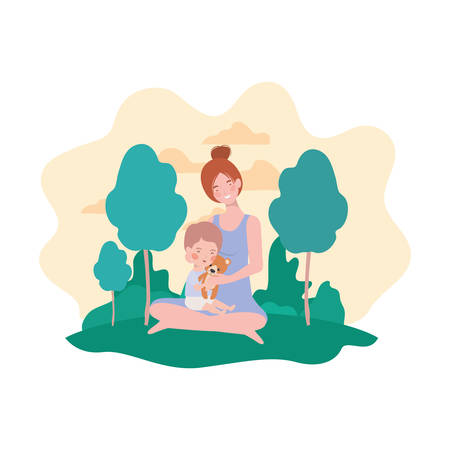 cute pregnancy mother seated with little boy in the camp vector illustration design Vettoriali