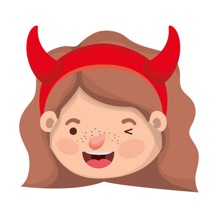 cute little girl head with devil costume vector illustration design