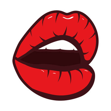 sexy woman mouth pop art style vector illustration design Stock Illustratie