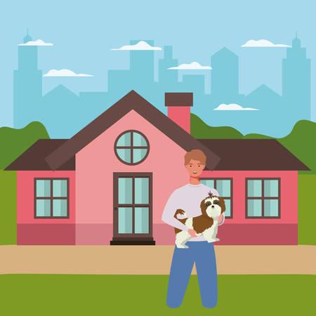 man lifting dog mascot in the outdoor house vector illustration design Vektorové ilustrace